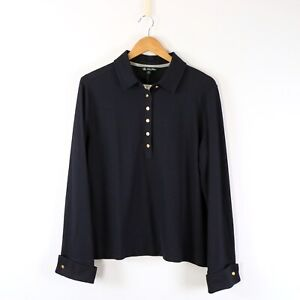 NWT Brooks Brothers Womens Long Sleeve Navy Pique Polo Shirt XL