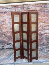 3-Panel Wooden Screen Divider w/ Privacy Glass Panels Dark Brown Room Divider