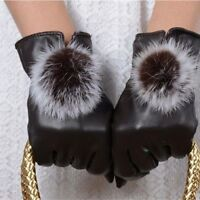 Fashion Women Girls Winter Soft Leather Gloves Warm - Black