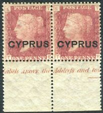CYPRUS-1880 1d Red Plate 215.  A fine mint marginal pair with Inscription Sg 2