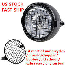 """6 1/4"""" Retro Vintage Motorcycle Side Mount Headlight Cafe Racer Grill Cover US"""