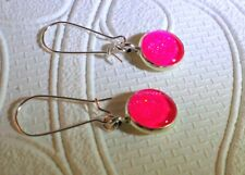 Pink holographic glitter glass silver toned dangle earrings 12mm JoMacDesigns