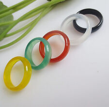 Wholesale 6color Handcrafted Multi-Color Natural Agate gemstone unisex band ring