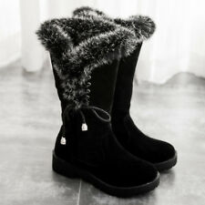 US Women Winter Snow Fur Lined Boots Flats Mid-Calf Plush Platform Warm Shoes