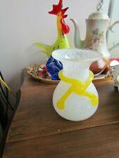 """Vintage Murano Venetian Italian Art Glass  Vase 5 1/4"""" White Yellow Hand Blown"""