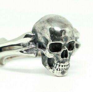 Gothic Bone & skull biker Rider 925 Sterling silver Mens Ring birthday gift