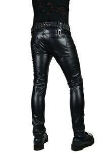 Men PU Leather Long Pants Wet Look Punk Gothic Biker Motorcycle Trousers Bottoms
