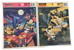 Lot of 2 vintage Disney  Frame tray puzzles by GOLDEN DARKWING DUCK PINOCCHIO