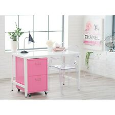 File Cabinet 2 Drawer Pink Metal Rolling Vertical Portable Office Furniture New
