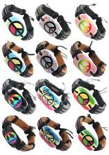 wd163 wholesale lots 12pcs peace sign surfer adjustable leather bracelet jewelry
