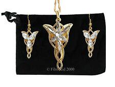 LOTR Seigneur des Anneaux Hobbit arwen evenstar collier pendentif + boucles d'oreilles or