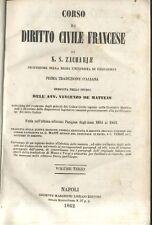 CORSO DI DIRITTO CIVILE FRANCESE di S.Z. Zachariae Volume III - 1862 Marghieri