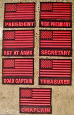 American Flag and Officer Title MC/MM Motorcycle Club Biker Vest, Jacket Patches