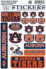 Auburn Tigers Vinyl Die-Cut Sticker Decals - 18 per sheet