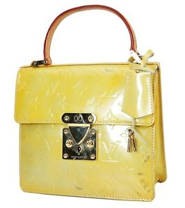 Auth LOUIS VUITTON Spring Street Silver (Yellow Green) Vernis Tote Bag #39913