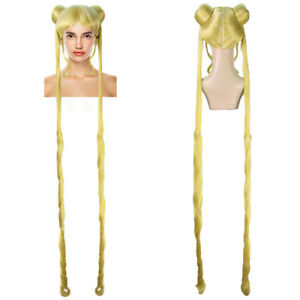 """Yellow 60"""" Ponytail Buns Wig Cosplay Sailor Moon Party Fancy Anime Hair HW-3566"""