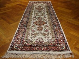 Runner Hand-Knotted Rug 2' 6'' X 8' Artificial Silk Ivory - Copper European
