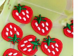 NEW STRAWBERRY EMBROIDERED FABRIC IRON ON APPLIQUE PATCH BADGE