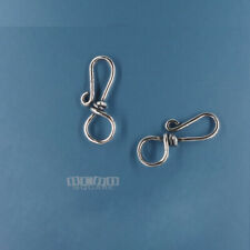 """2 Oxidized Solid Sterling Silver Fish Hook Clasp Connectors 20mm (3/4"""") #44001"""