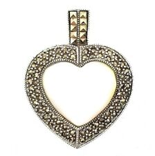 LARGE MOTHER-OF-PEARL HEART PENDANT Marcasite Stones .925 STERLING SILVER