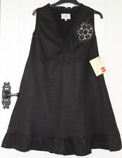 BNWT £129 - Avoca PAUSE Black Linen Dress & Sparkly Crystal Detail - Size 3 / 14