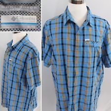 COLUMBIA Omni-Shade Mens XL Sun Protection S/S Button Down Plaid Checks NICE