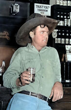 """1939 Cowboy in Beer Parlor Alpine TX Old Photo 11"""" x 17"""" Reprint Colorized"""