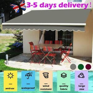 UK UV Sun Garden Shade Retractable Patio Awning Manual Shelter Outdoor Canopy