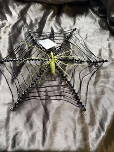 Gisela Graham Halloween Beaded Spider Web 30cm - 921