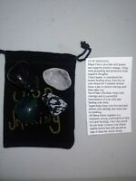 Quit tabacco use Tumbled Crystal Healing Set  4 Stones Pouch + Card