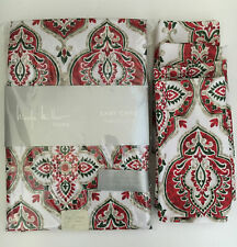 Nicole Miller Red Green Paisley Xmas Tablecloth 60x84 + 4 Napkins Easy care