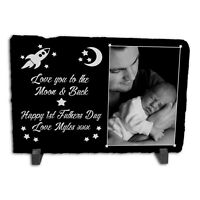 Personalised Happy 1st Fathers Day Rock Slate Photo Frame - Rectangle Large