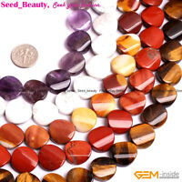 """16mm Natural Coin Twisted Assorted Stone Beads For Jewelry Making Strand 15"""" DIY"""