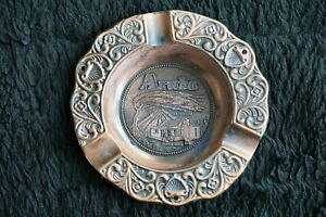 Aruba N/A Decorative Souvenir Copper Colored Metal Ashtray with Aruba Scenes