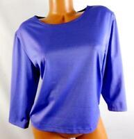 Patchington purple women's plus size boat neck 3/4 sleeve spandex top  XL