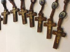 12 Rosary Bead Necklaces Asst. Color Wood Bead Crucifix Religous Printed