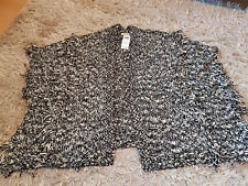 New Women's HOLLISTER Fringe Non-Closure Poncho Size M/L marled black RRP £39