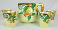 Vintage TK Czechoslovakia Cider Pitcher Peaches & Tumblers Signed