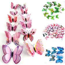 12X Papillon 3D Art Design Decal Stickers Autocollant Muraux Chambre Maison Déco