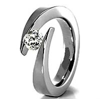 TITANIUM Bypass Tension Ring with 4.5mm Round CZ, sizes 5, 6, 7, 8, 9