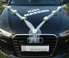 JUST MARRIED Autoschmuck Braut Paar Rose Deko Dekoration Hochzeit Autodeko Ratan