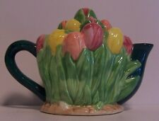Teapot Tip-Toe Through Tulips Miniature Tea Pot Yellow Red Pink Green Flowers