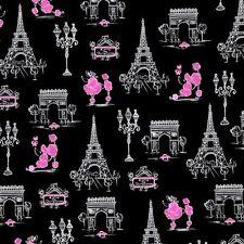 C'est La Vie Poodles in Paris Ink and Arrow Pink Black Cotton Fabric Fat Quarter
