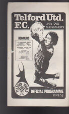 Telford United FC v Barnet Programme 1973-74