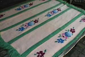 Vintage Handmade Knitted Wool Cross Stitch Floral Afghan/Throw