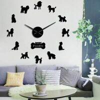 Home Wall Clock Watch Poodle Dog Patterned 3D DIY Acrylic Quartz Watch Accessory