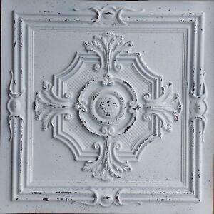 Ceiling tile Faux tin distress crack white decor wall panel 10tile/lot PL38