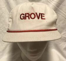 Vtg Grove Manufacturing Crane Equipment White Red Stapback Hat Cap