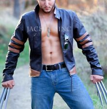X-MEN ORIGINS LOGAN WOLVERINE BROWN LEATHER JACKET HALLOWEEN COSTUME BIKER