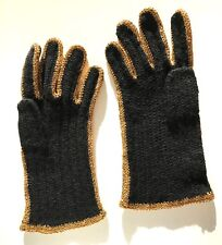 VINTAGE HAND KNITTED BLACK GLOVES W. GOLD CROCHETED TRIM HOLIDAY EVENING 1950'S
